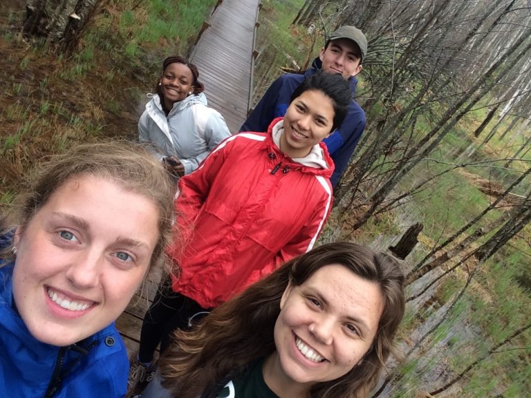 Selfie of three Fall 2017 PLACE Fellows and two program leads in Acadia National Park