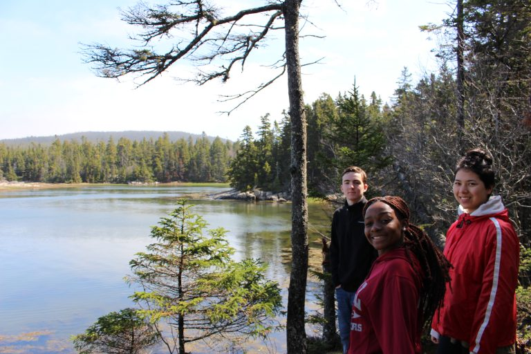 Photo of three Fall 2017 PLACE Fellows at a lake in Acadia National Park