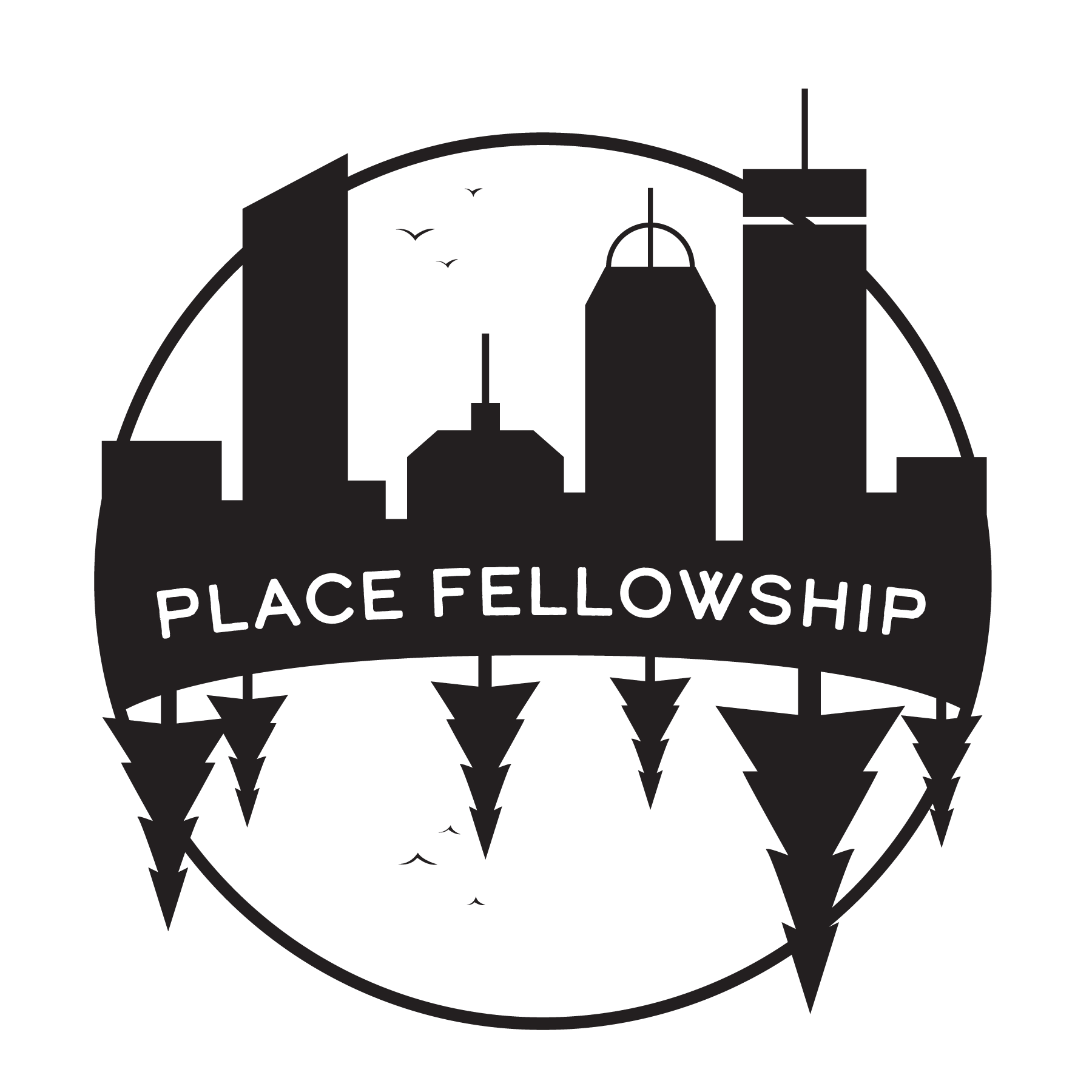 PLACE Fellowship logo features the silhouette of a forest in mirror reflection of a cityscape with the program title between them