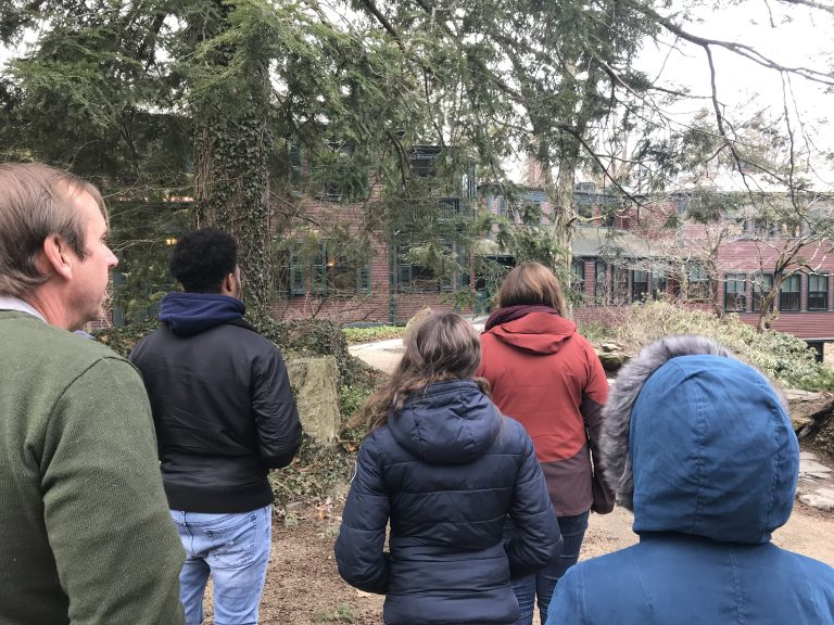 Photo of Spring 2018 PLACE Fellows and a program lead at Frederick Law Olmsted National Historic Site