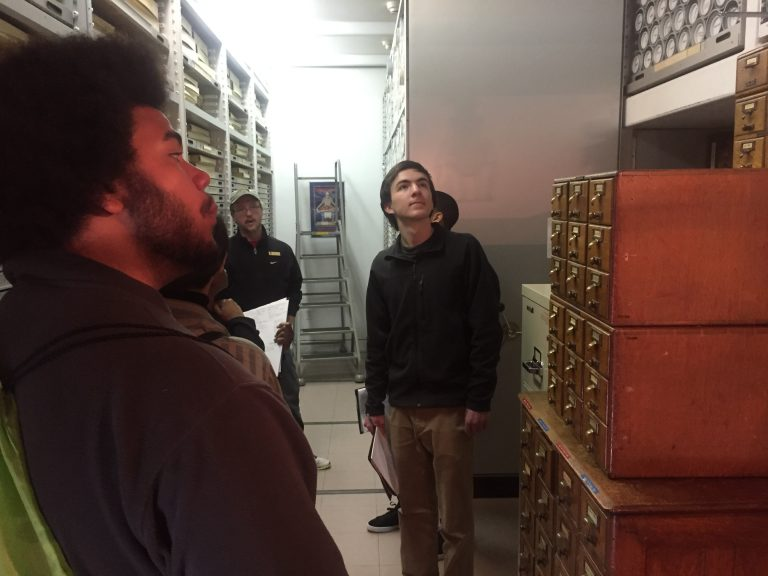 Photo of Fall 2017 PLACE Fellows in the archives at Olmsted National Historic Site