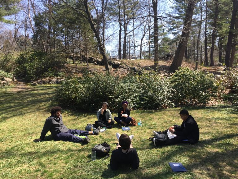 Photo of Fall 2017 PLACE Fellows eating lunch outside at Olmsted