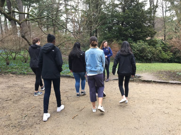 Spring 2019 PLACE Fellows touring the gardens at Olmsted