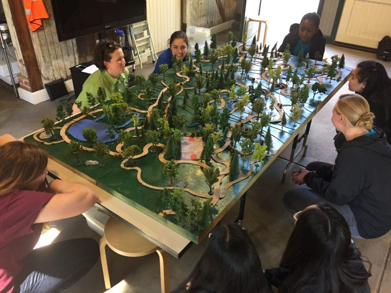 Spring 2019 PLACE Fellows crouched around a 3D park model