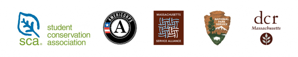SCA, Americorps, Massachusetts Service Alliance, NPS, and DCR logos