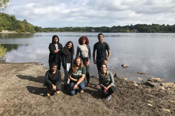 Photo of Fall 2018 PLACE Fellows, as well as PLACE Leads Sophia and Kristina, at Wompatuck State Park