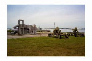 two tanks and a playground on Georges Island