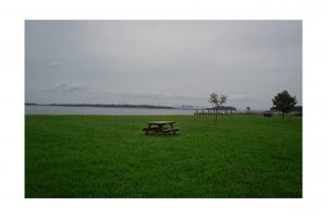 Picnic Table in a grassy area of Georges Island